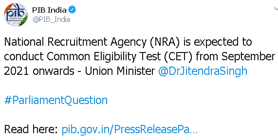 nra will conduct cet from september 2021 PIB twitter handle