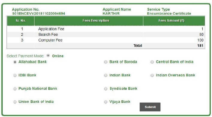 apply ec online application payment page
