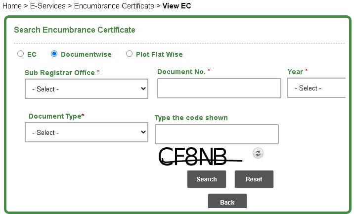 encumbrance certificate  documentwise search option page