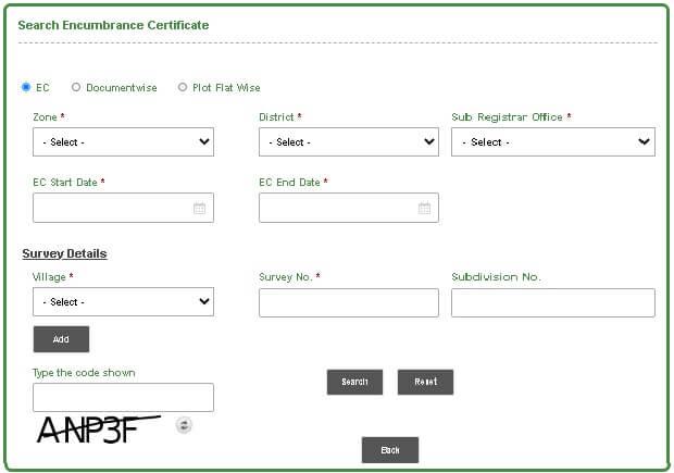 encumbrance certificate  ec search option page