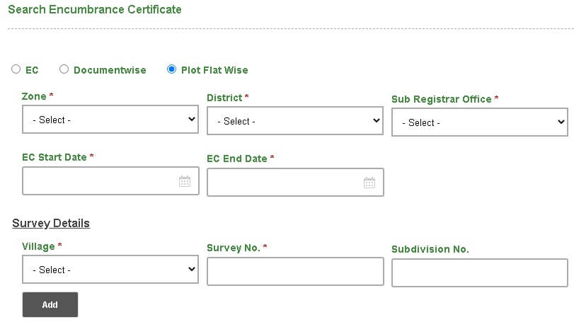 encumbrance certificate  plot flat wise search option page
