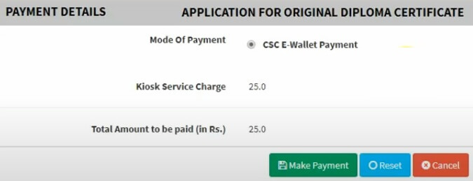 seva sindhu diploma certificate online application online payment page