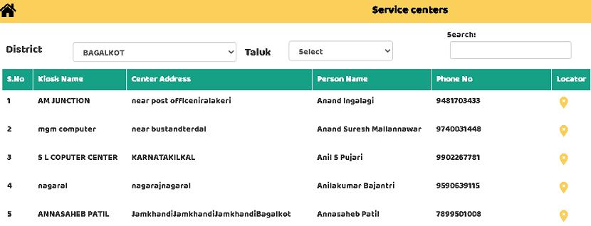 service centers locator page