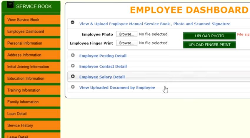 ehrms employee service book dashboard