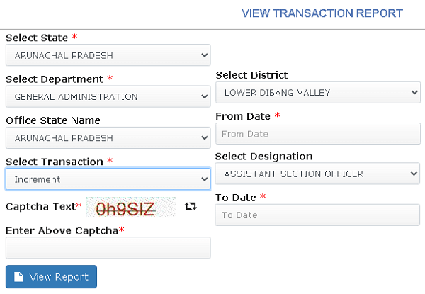 ehrms view transaction report page