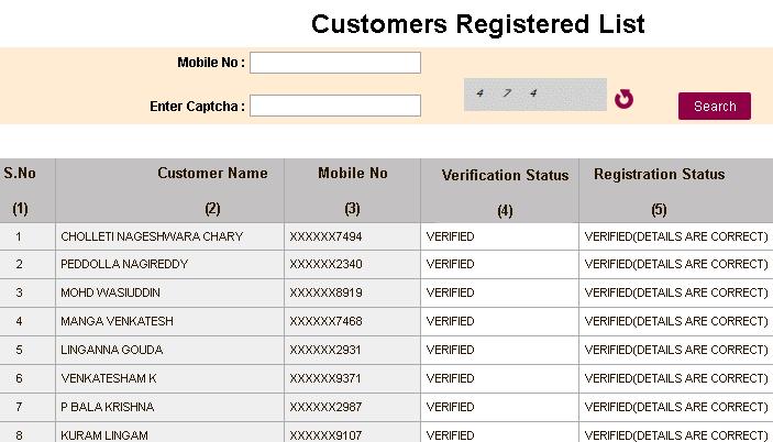 ssmms customer registration verification page