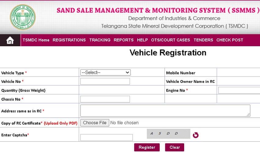 vehicle registration online form