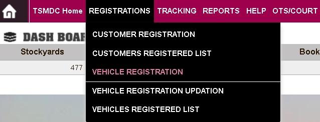 vehicle registration link in website main menu