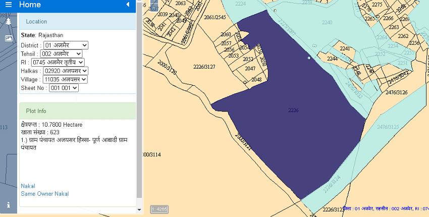 Rajasthan geo map website information of a plot