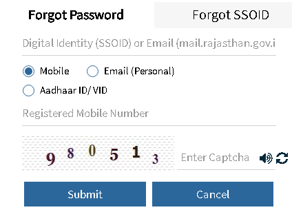 rajasthan sso id forgot password page