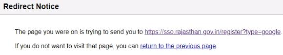 rajasthan ssoid registration by google login redirect page warning