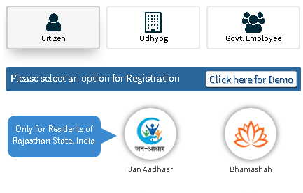 sso rajasthan citizen registration options page