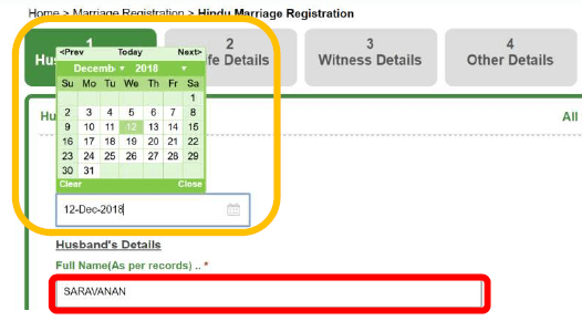 tnreginet marriage registration husbands details