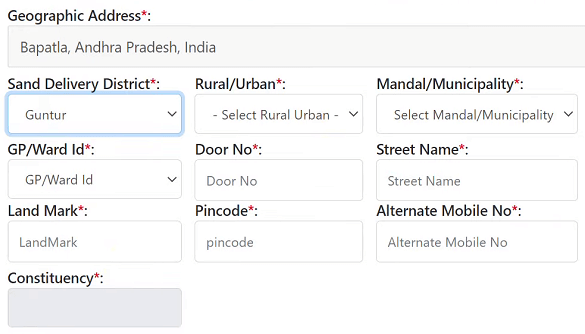 andhra pradesh sand delivery address