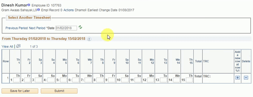 attendance timme sheet submit page