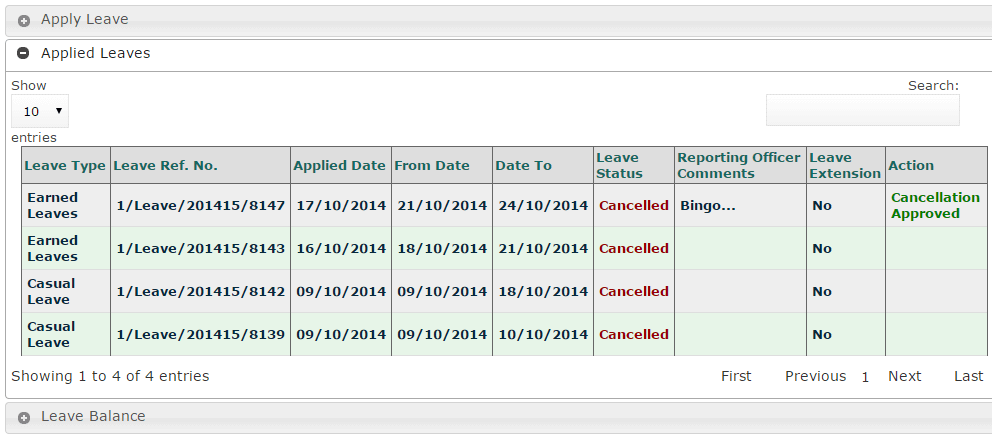 ehrms applied leave details