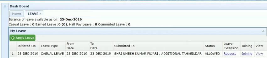 hrms employee leave dashboard odisha