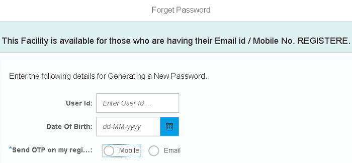 hrms forgot password reset page sbi