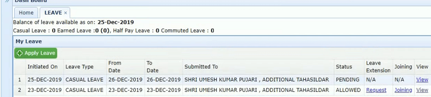 hrms new leave status page odisha
