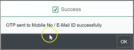 hrms password reset otp success message sbi