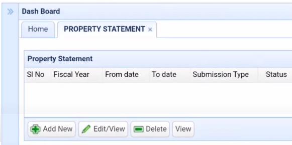 hrms property statement dashboard odisha