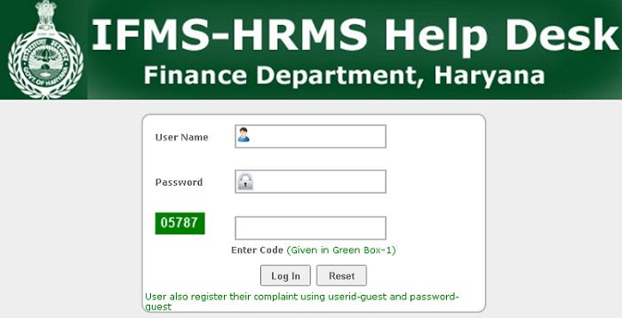ifms hrms haryana helpdesk login