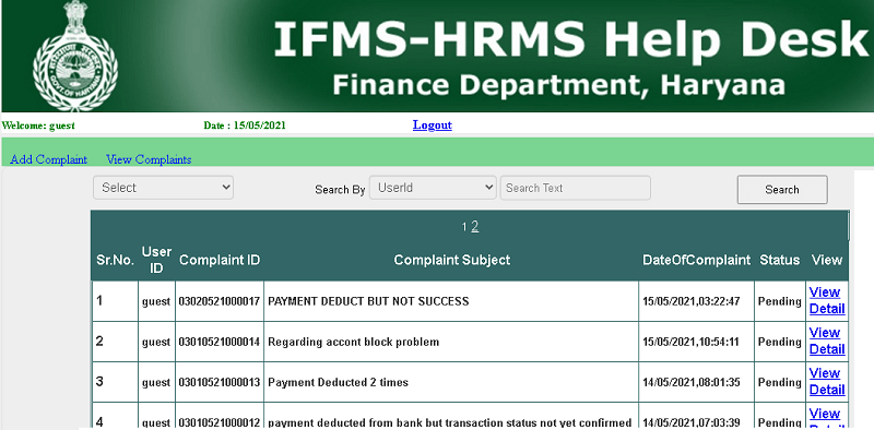ifms hrms haryana helpdesk page