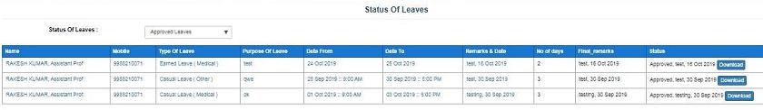 leave status intra haryana hrms
