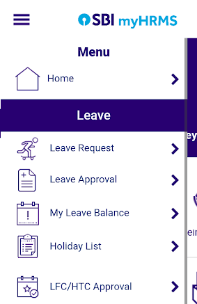 myhrms app leave related services menu