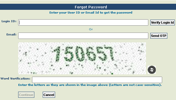 pfms password recovery page