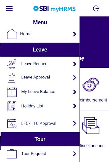 sbi myhrms app menu options page
