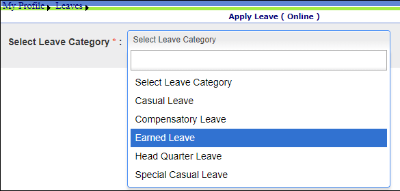 select leave category page jharkhand hrms