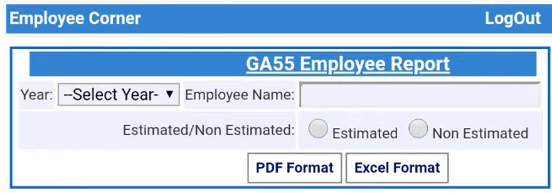 GA 55 employee report page