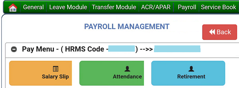 ehrms up payroll management page