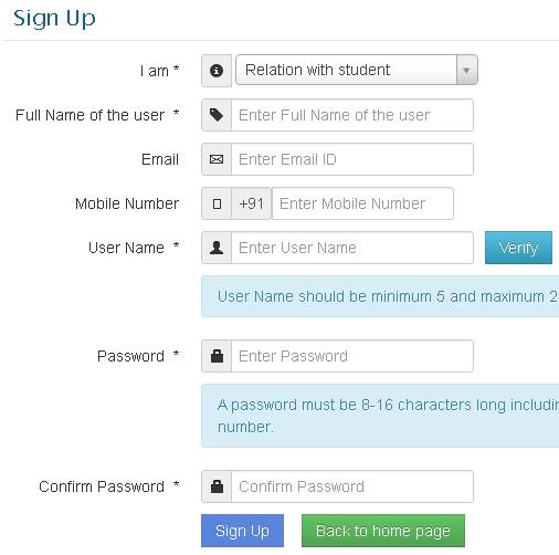 online school admission signup form