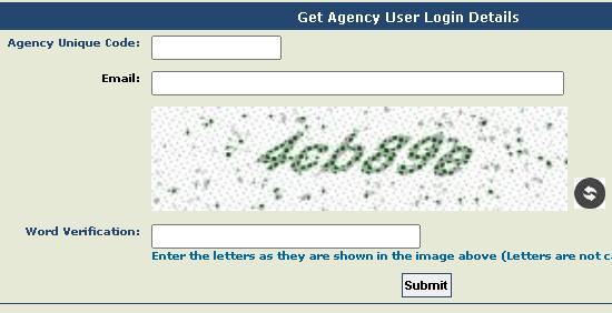 PFMS Agency login details search form
