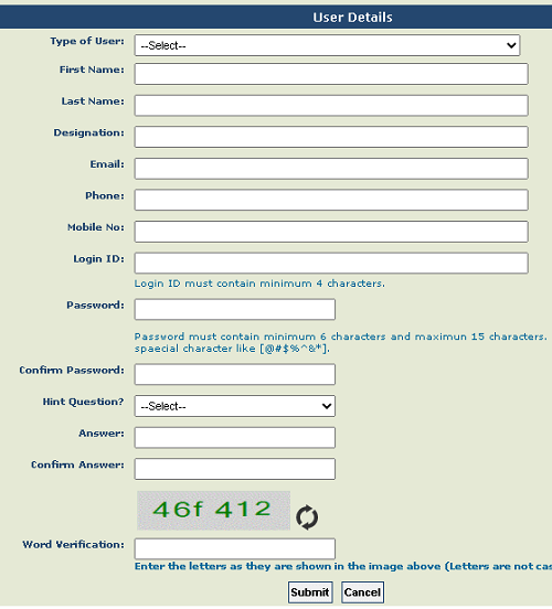 PFMS MIS user registration form