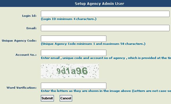 PFMS agency admin setup page