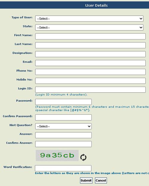 PFMS-treasury user registration form