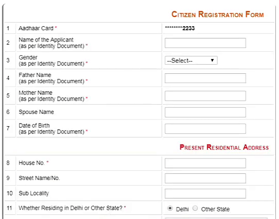 edistrict delhi user registration form