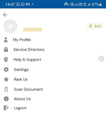 umang app profile page