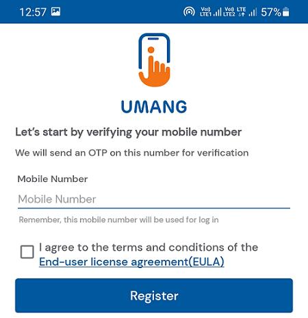 umang app registration page