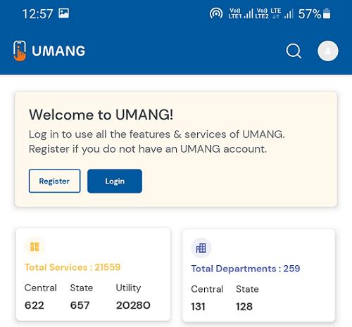 umang app welcome screen