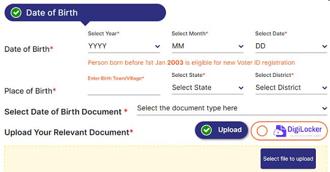 voter portal new voter ID registration form
