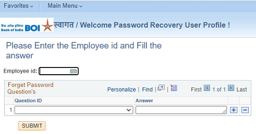 bank of india hrms password recovery form