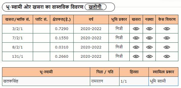land owner and khasra details on mp bhu lekh portal