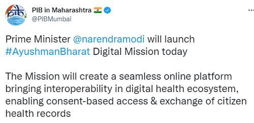 pib tweet on ayysh bharat digital health mission