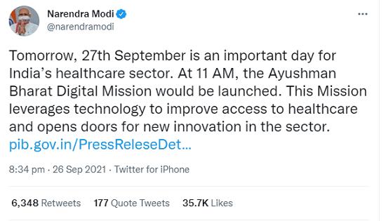 pm tweet on ayysh bharat digital health mission