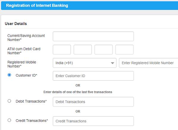 Canara net banking registration form
