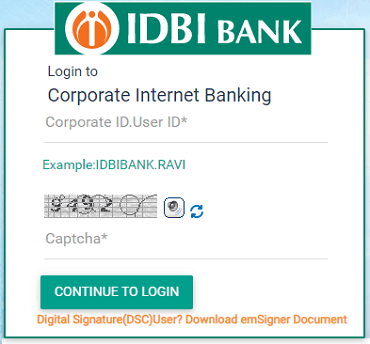 IDBI corporate internet banking login form